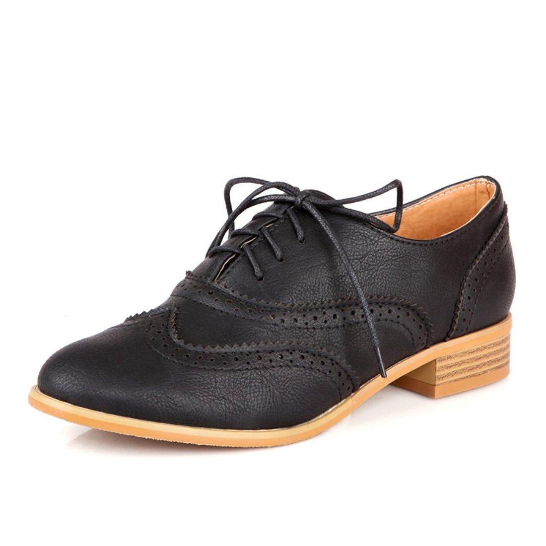 Susanny Women Classic Modern Sweet Low Heel Lace up Carving Wingtip PU Black Brogue Oxfords Dress Shoes 10 B (M) US(EU 43)