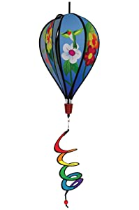 In the Breeze Hummingbird Flowers 6-Panel Kinetic Hot Air Balloon Wind Spinner