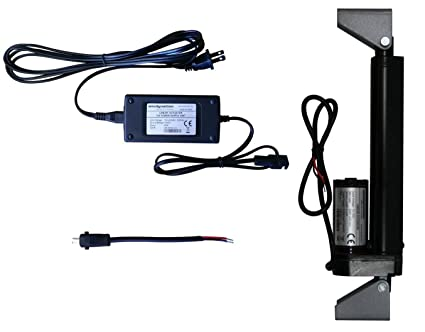 WindyNation 12 Volt, 225 lbs Linear Actuator + AC to 12 VDC Power Supply +  Actuator Mounting Brackets