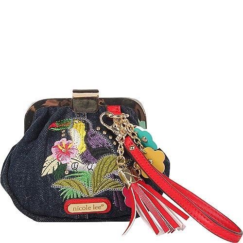 Nicole Lee - Monedero vaquero con correa para la muñeca Morrin Para mujer , Azul (Bird), Talla única: Amazon.es: Zapatos y complementos