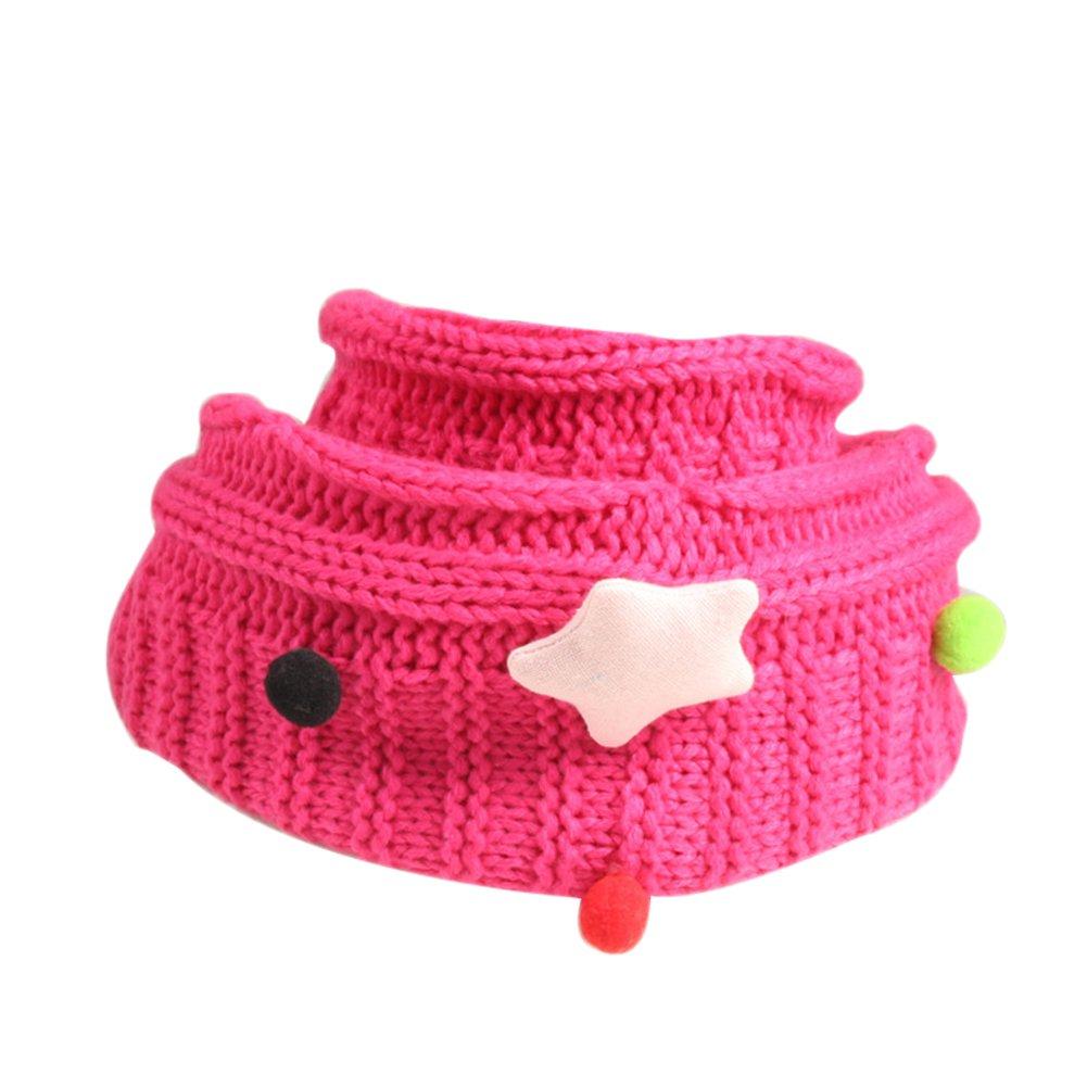 JUNGEN Bufandas de Bebé Linda O Cuello bufandas de punto Gypsophila toño invierno bufanda para Niños Niñas, Rojo Azul
