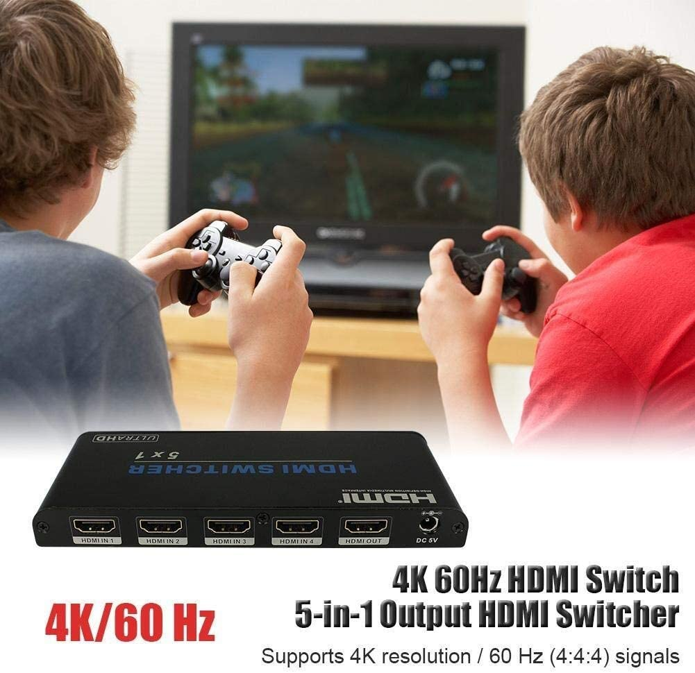 YuandCheng Partes electronicas Interruptor 5 In 1 out, Salida HDMI 4K 60Hz HDMI Switcher Compatible con Control Remoto por Infrarrojos HDMI2.0 / HDCP2.2 / UHD/HDR/Full HD 3D Simple y practico: Amazon.es: Hogar