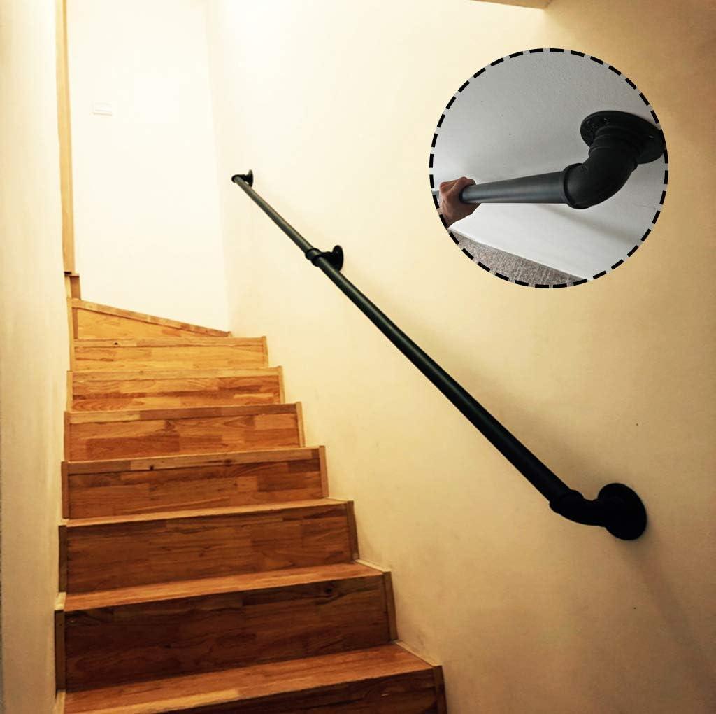 GuoEY Barandilla - Kit Completo, barandilla de Tubo Negro de Escalera con Soporte de Montaje en Pared, Negro rústico: Amazon.es: Hogar