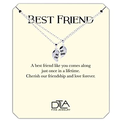 Amazon com: DTLA Best Friend Necklaces in Sterling Silver with