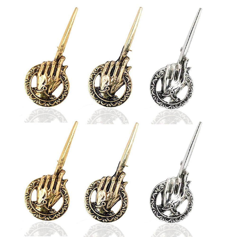 Game of Thrones Antique Hand of The King Brooch pin Men's Gold/Sliver/BronzeTone (6PC Gold+Silver+Bronze) by Festival-US