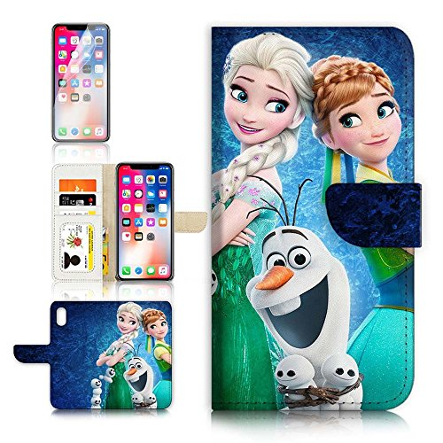(For iPhone X) Flip Wallet Case Cover & Screen Protector Bundle - A21553 Frozen Elsa Anna Olaf