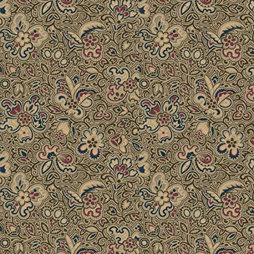 Olive Linear - Canterbury Olive Linear Floral by Quilting Treasure