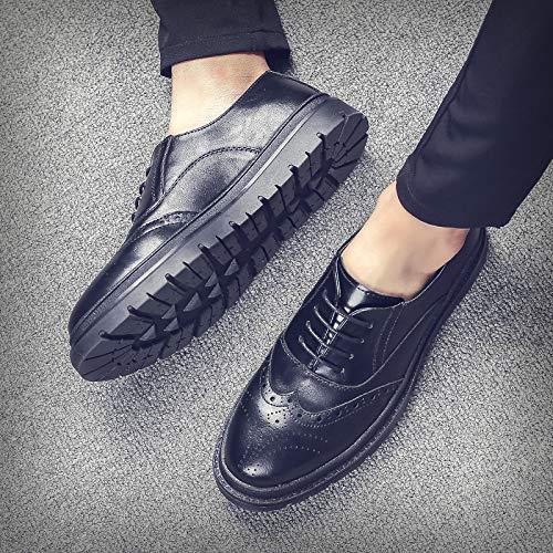 Cuero Hombres Negocios Negro Tendencia Hombre Zapatos Eaojrscsa Para Casuales De Black g1OwZ