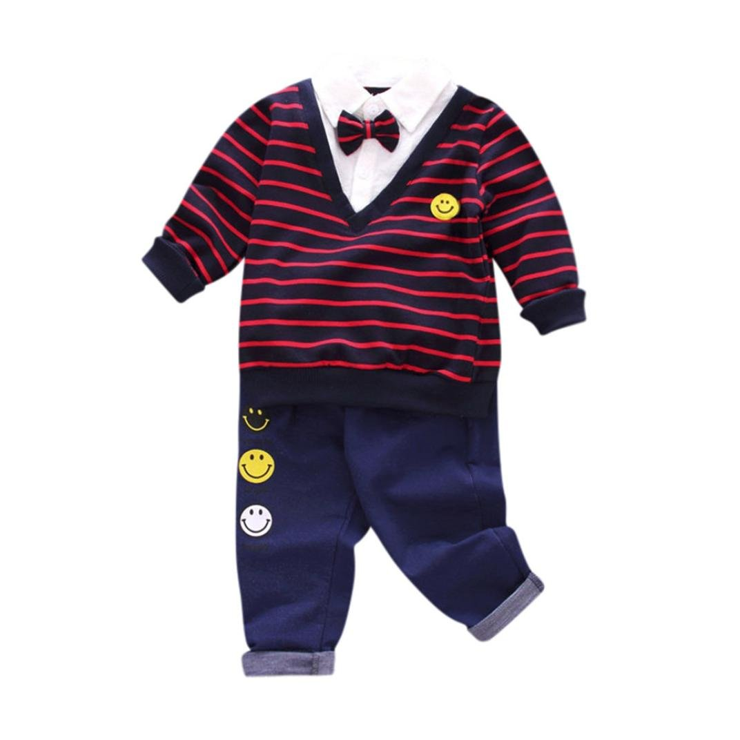 Freshzone 1-3T Toddler Boys 2 Sets Stripe With Bow Long Sleeve Tops+Long Pants