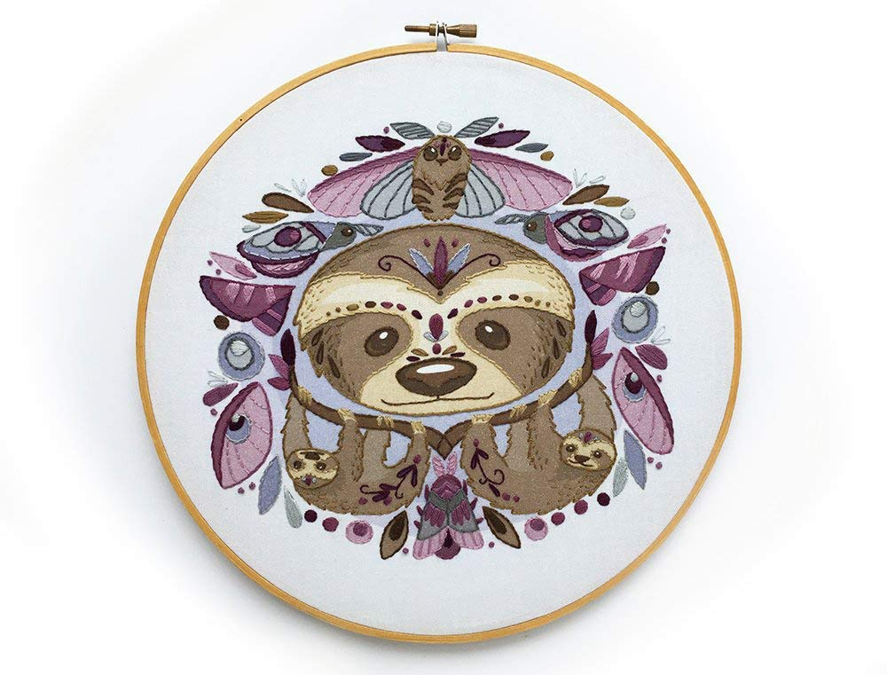 DIY Hand Embroidery Sloths and Moths Large color printed Sampler