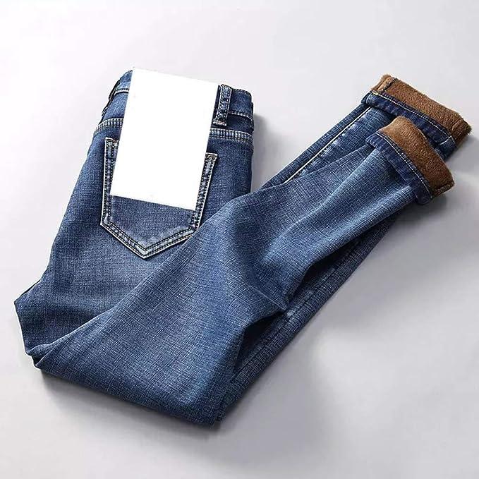 Azul Pantalones Vaqueros De Cintura Alta Para Mujer Gruesos De Tela Vaquera L O L Lo Forrados 25 Vaqueros Ropa