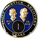 1 Year Founders Blue Tri-Plate AA Medallion Bill & Bob Chip