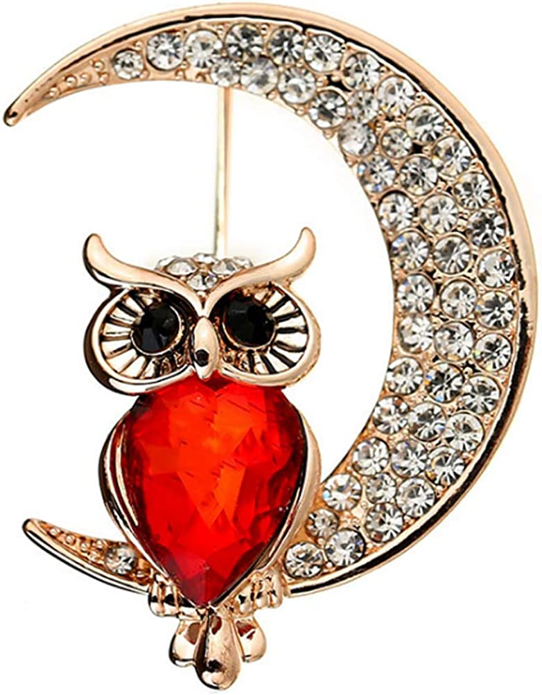 Animal with Crystal Scarf Clips Brooches Pins Red Owl Brooch Moon Pin