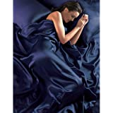 Navy Blue Satin Seamless King Duvet Cover, Fitted Sheet and 4 Pillowcase Set by Country Club