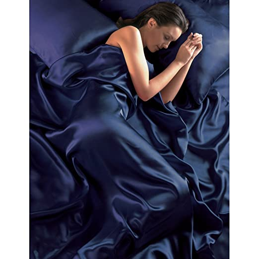 2 opinioni per Navy Blue Satin Seamless Double Duvet Cover, Fitted Sheet and 4 Pillowcase Set