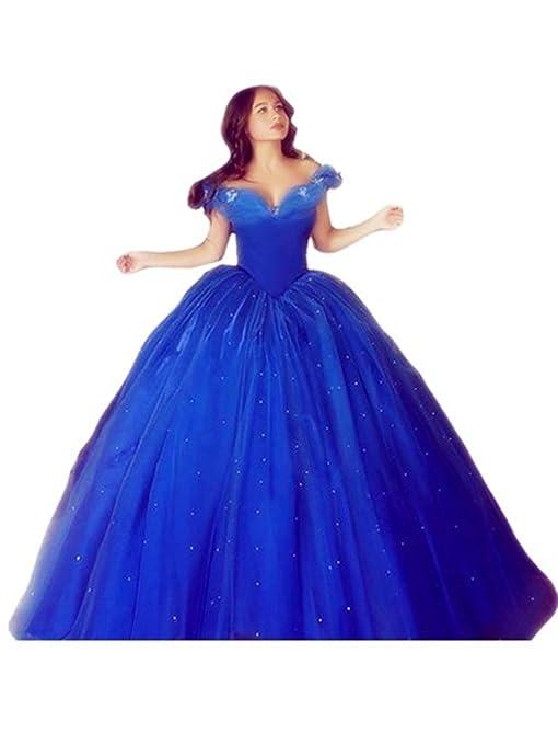 Amazon.com: 2017 New Design Fantasy Cinderella Floor-Length Sweetheart Vestidos De Festa Off-Shoulder Ball Gown Crystal Prom Dress: Clothing