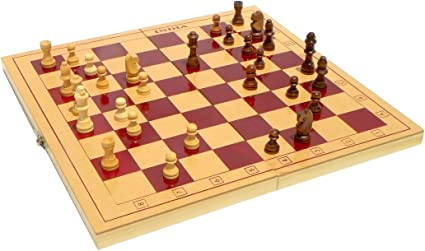 Jaykal Classic Wooden Chess Set Board Game, Foldable Chess (Small - 12x12 Inch)
