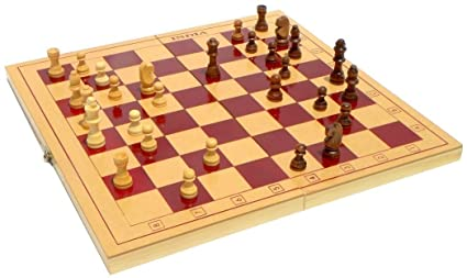 Jaykal Classic Wooden Chess Set Board Game, Foldable Chess (Large - 15x15 Inch)