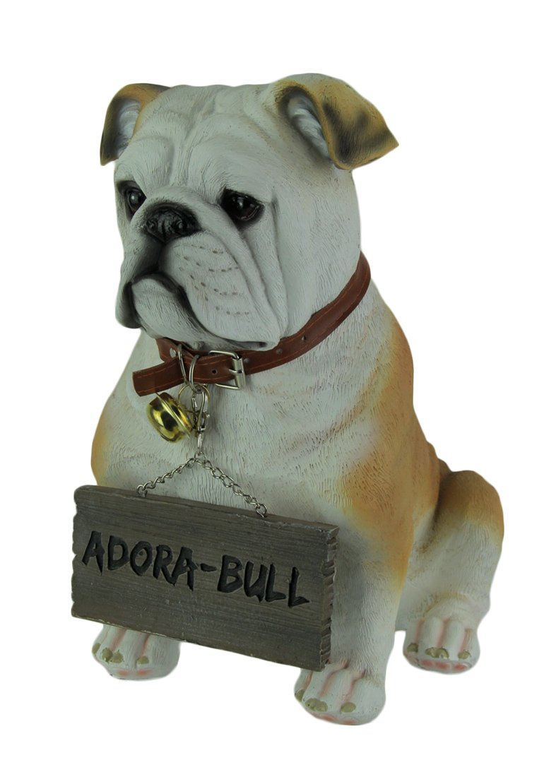 World Of Wonders Resin Outdoor Statues Incredibly Cute Max The Adora-Bull Bulldog Welcome Statue 10 X 11.5 X 7 Inches Caramel