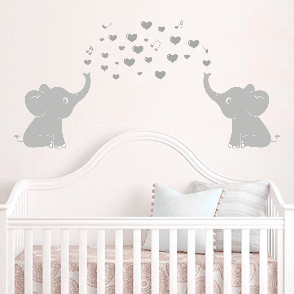 Amazon elephant bubbles wall decal nursery decor baby elephant family wall decal with hearts music quote art baby nursery wall decor grey amipublicfo Images