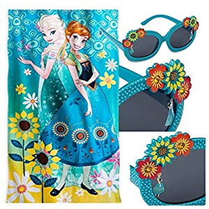 Disney Frozen Kids 2 Piece Swim Set - Plush Beach Towel and Sunglasses