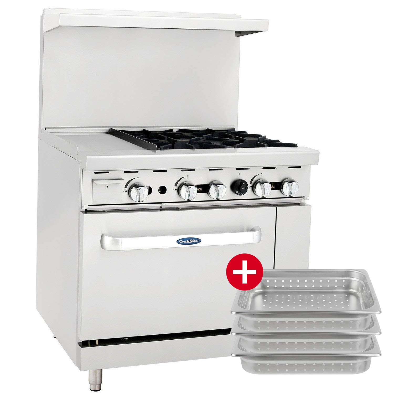 CookRite ATO-12G4B Commercial Restaurant Griddle 4 Burner Hotplates Liquid Propane Range With 12'' Manual Griddle On The Left Standard Gas Oven - 140,000 BTU