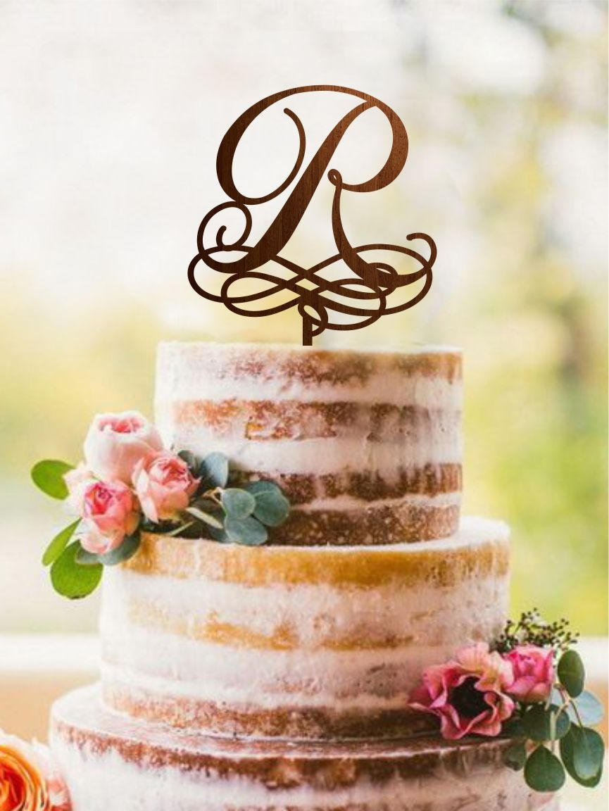 Letter R Cake Topper, Wooden Initial R Cake Topper, Monogram R Cake Topper, Gold Monogram Cake Topper Letters Large, Silver Initial Topper