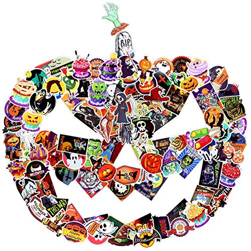 Diy Halloween Decorations For Toddlers (100 PCS Halloween Stickers Pack - Halloween Decorations Gift for Party Kids Children Girls Friends Teens Toddlers Windows)