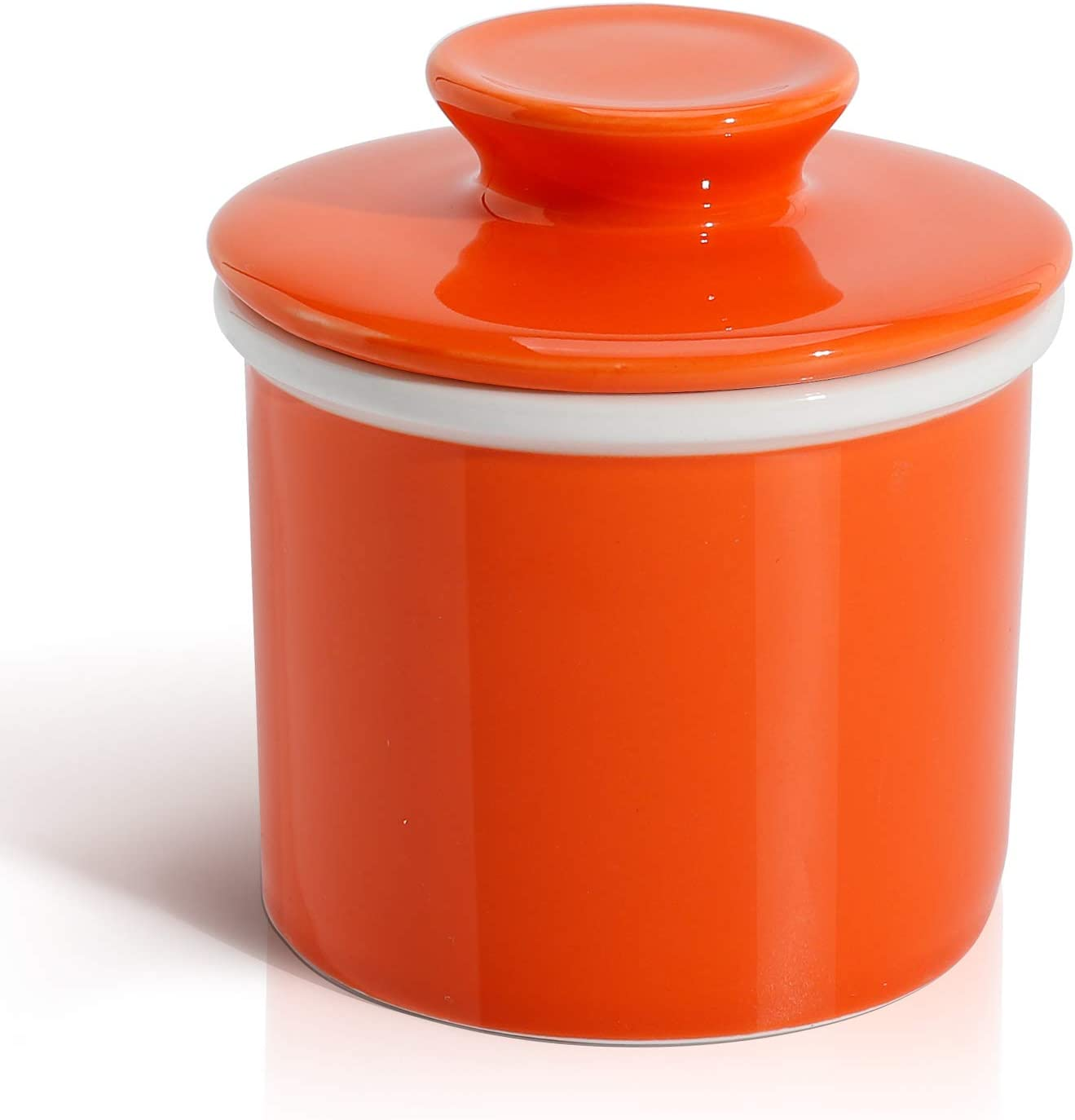 Sweese 305.106 Porcelain Butter Keeper Crock - French Butter Dish - No More Hard Butter - Perfect Spreadable Consistency, Orange