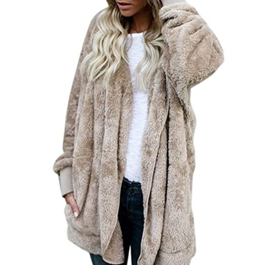 Image Unavailable. Image not available for. Color  Lukalook Womens Faux Fur  Coat Hooded Cardigan Jacket Open Front Long Sleeve Solid Color Sweaters fff63a8fb
