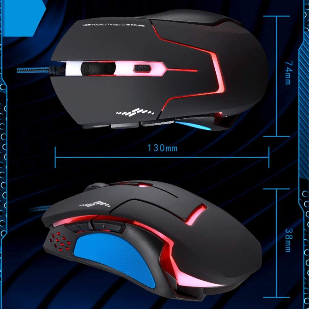HBBOOI Gaming Mouse Three-Color Breathing Light 6 Programmable Buttons 2400 DPI USB Interface High Performance Gaming Mouse Special Edition for PC Computer Laptop