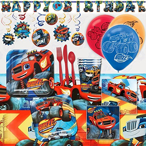 Man Deluxe Party Kit - Deluxe Blaze and The Monster Machines Birthday Party Pack Decoration Kit For 16