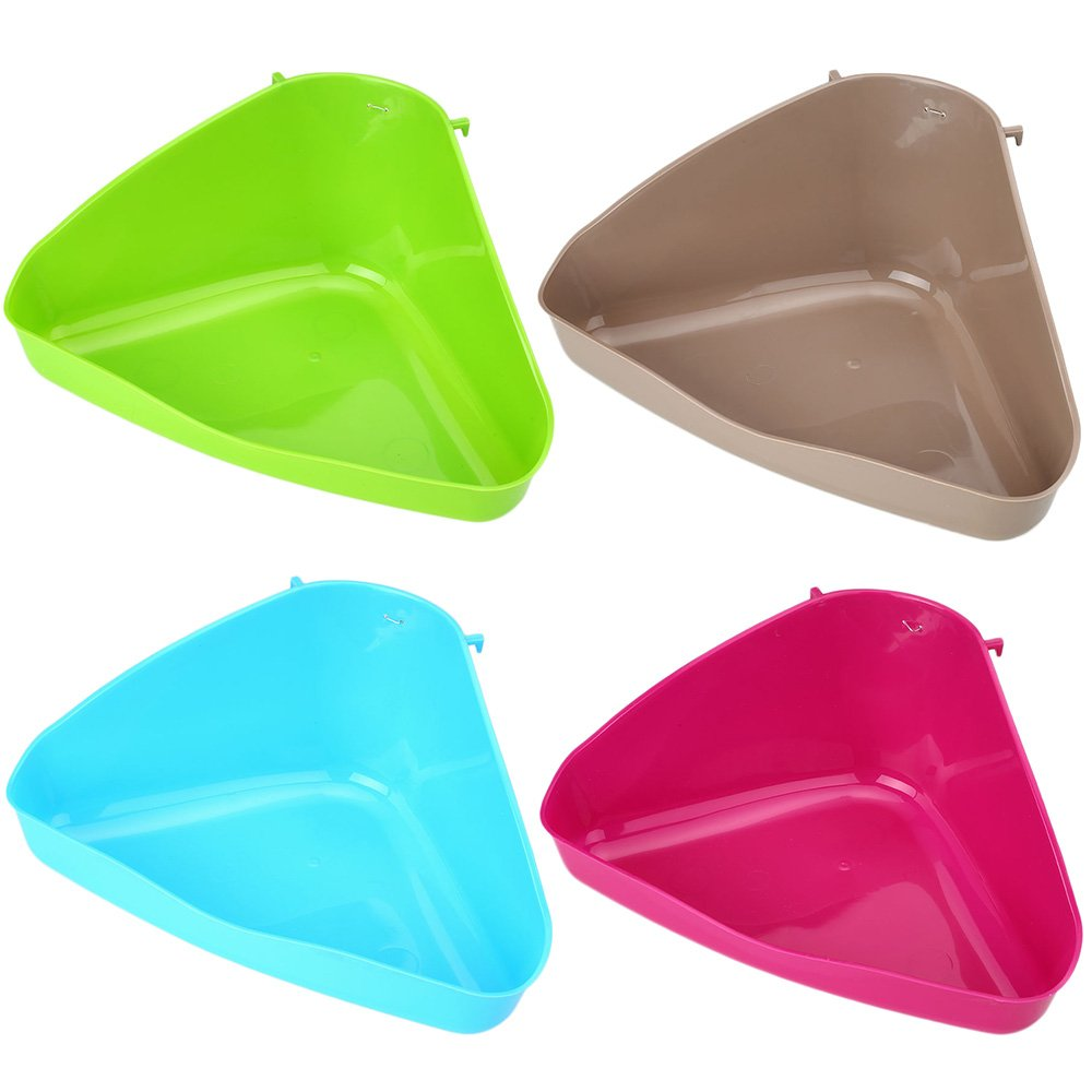 Kicode TOPmountain Pet Corner Toilet Litter Pee Tray Box for Cat Mouse Rat Rabbit Hamster Small Animal Plastic Random Color