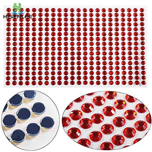 Kamas 260Pcs/set 5set Loose Personalized Crystals Rhinestone Round Flatback Resin Stickers Self-Adhesive Paste DIY Nail Computer Decor - (Color: red)