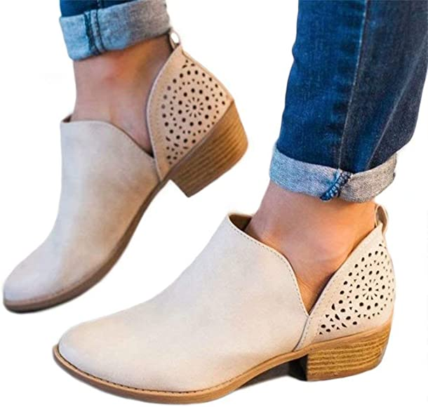 Ladies Ankle Boots Womens Chelsea Boots Cut Out 1.5in Low Heel Sandals Slip On Shoes Breathable Casual Booties Beige Brown Grey Khaki Size 3 9 UK