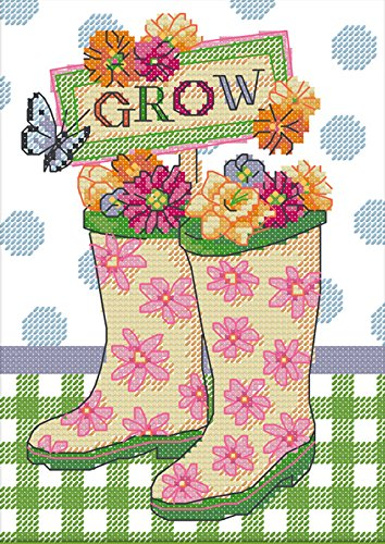 "Lemon Tree Start Cross Stitch Kits Beginners Cross-Stitching Accurate Pre-printed Pattern -Beautiful Flowers 11CT 7""X11"", Frameless (Rain boots and flowers)"