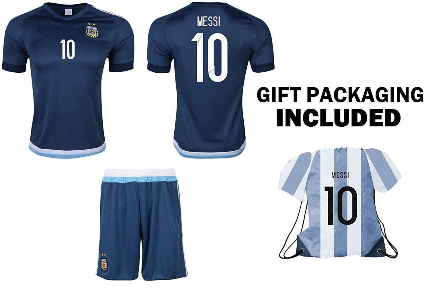 6ebea144729 Amazon.com   Argentina Messi  10 Away Kids Soccer Jersey All Ages Youth  Sizes (13-12)   Sports   Outdoors