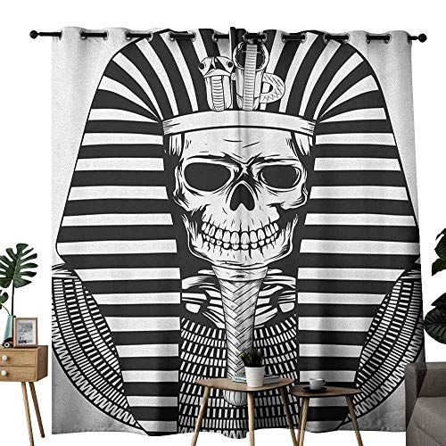 (duommhome King Privacy Curtain Egyptian Pharaoh Ruler Mummy Skull Skeleton Statue for Ancient Egypt Lovers Print 70%-80% Light Shading, 2 Panels,W84 x L108 Black and White)