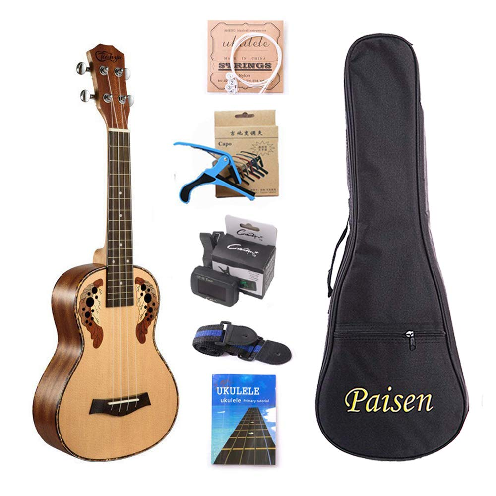 Paisen Ukulele Spruce 23inch Hawaii Concert Ukulele Small Guitar with Tuner Capo Thick Bag for Ukulele Beginners by Paisen