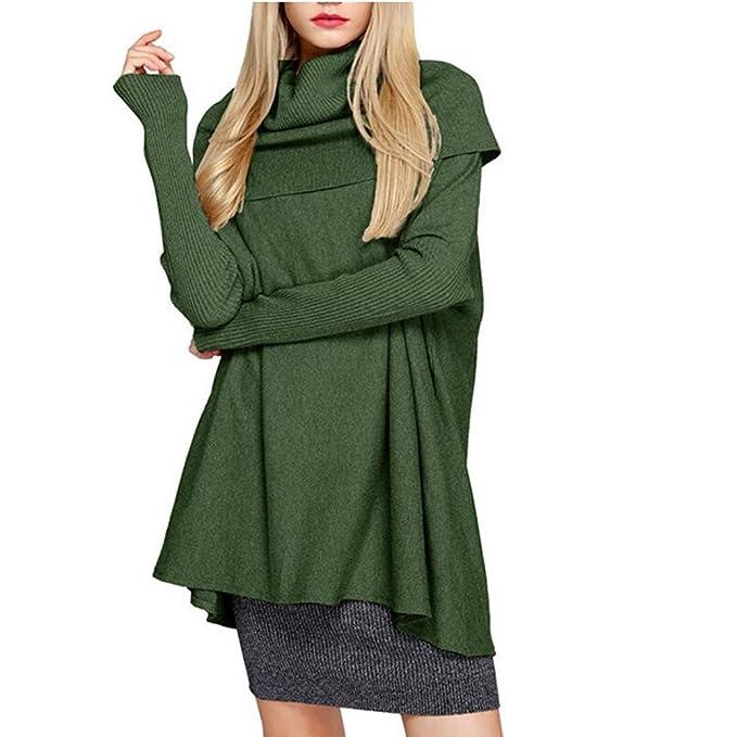 Camisa Cuello Alto Mujer - Blusa Batwing Tops Tejido Punto Tshirt Otoño Camiseta Casual Pullover Largo