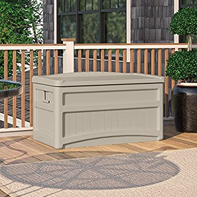 Suncast 73 Gallon Patio Storage Box - Waterproof Outdoor Storage Container for Patio Furniture, Pools Toys, Yard Tools - Store Items on Deck, Porch, Backyard - Taupe
