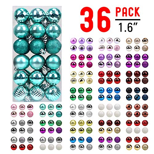 walsport Christmas Balls Ornaments for Xmas Tree - 36ct Plastic Shatterproof Baubles Colored and Glitter Christmas Party Decoration 1.6inch Set (Teal) (Baubles Christmas Teal)