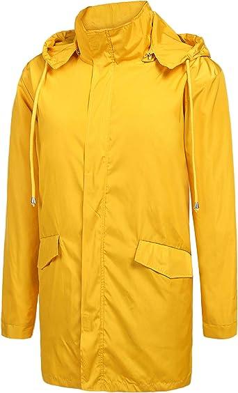 Men Lightweight Rain Jacket Windshield Coat Top Hooded Running Sports Outdoor