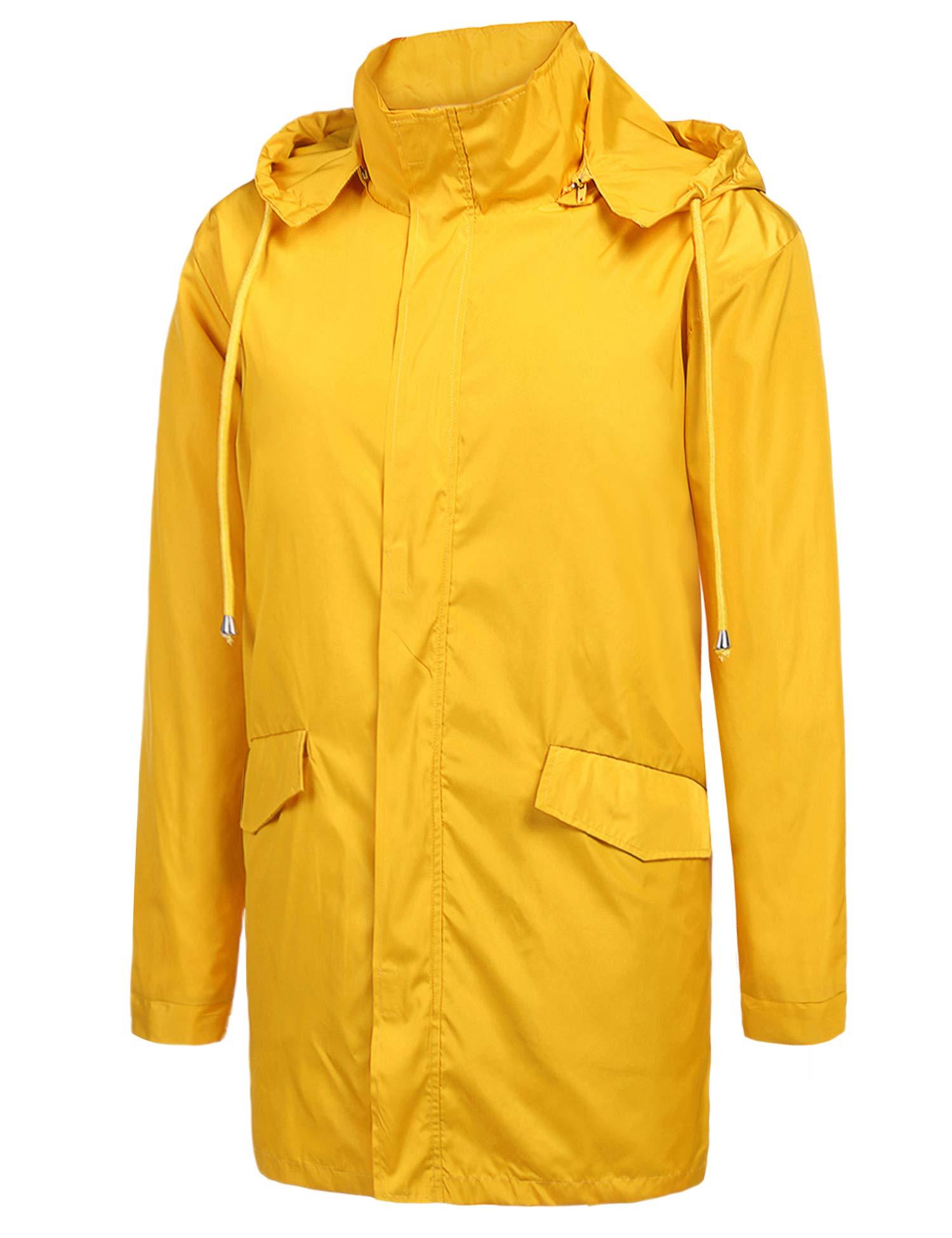 ZEGOLO Men's Raincoats Waterproof Windbreaker Lightweight Active Outdoor Hoodies Long Rain Jacket Trench Coats by ZEGOLO