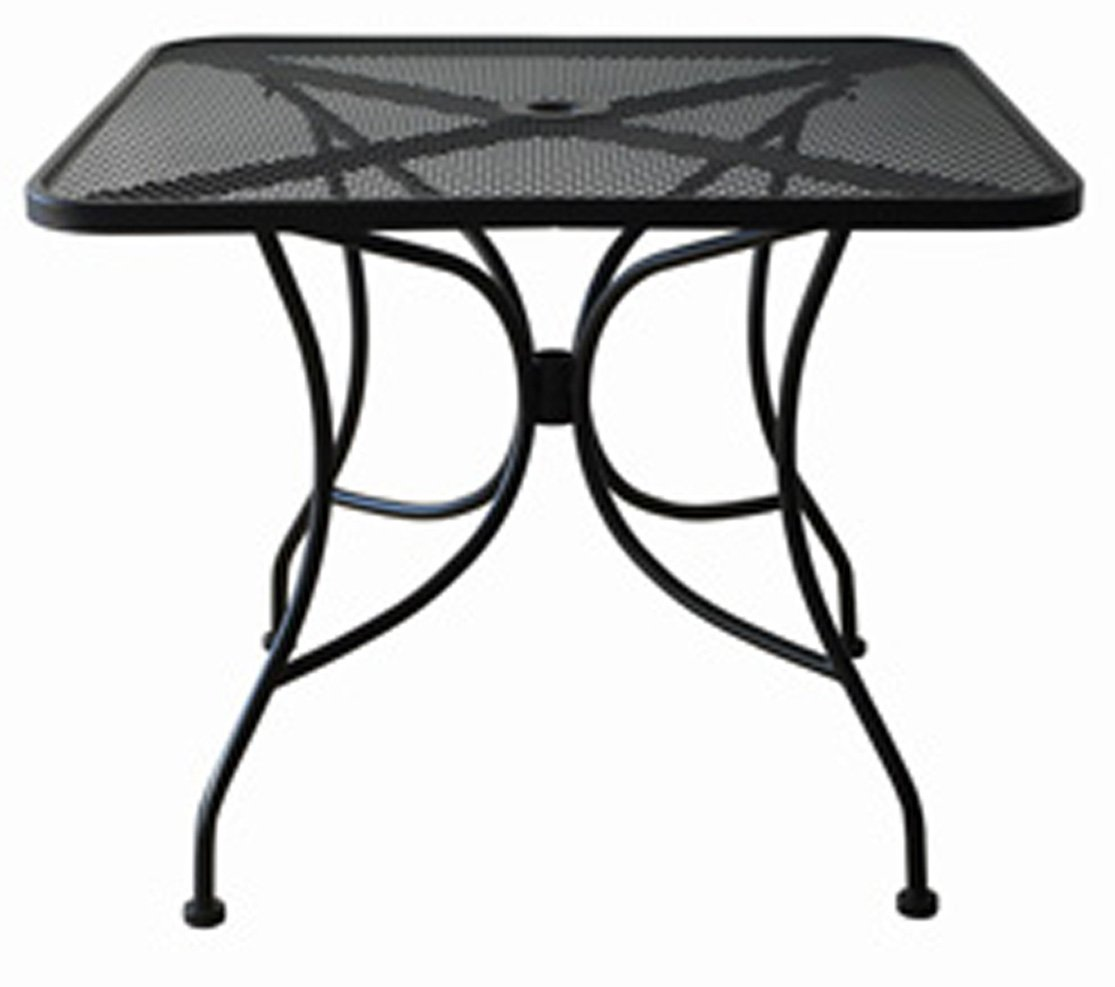 Oak Street Manufacturing OD3030 Square Black Mesh Top Outdoor Table, 30'' Length x 30'' Width