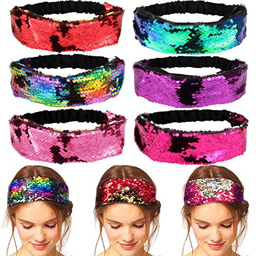 UPINS 6 Pack Sparkly Mermaid Reversible Sequin Headbands Velvet Elastic Headbands Flip Sequin Headbands for Girls and Women