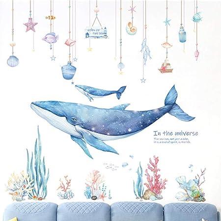 poissons dekodino/® Sticker mural chambre denfant baleines dauphins tortues