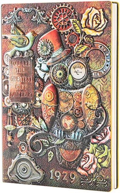 niumanery - Bloc de Notas de Piel con diseño de búho mecánico en Relieve, tamaño A5, para Viajes, para la Escuela, Oficina, Suministros Coloridos
