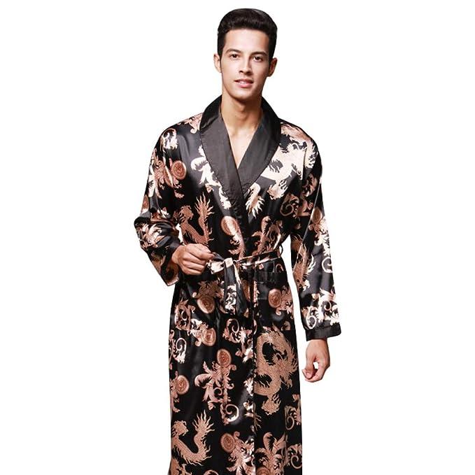 TFGY Batas de Seda para Hombres Ropa de Dormir, Batas de baño largas de Kimono, Impresión de Dragones y Colores múltiples: Amazon.es: Ropa y accesorios
