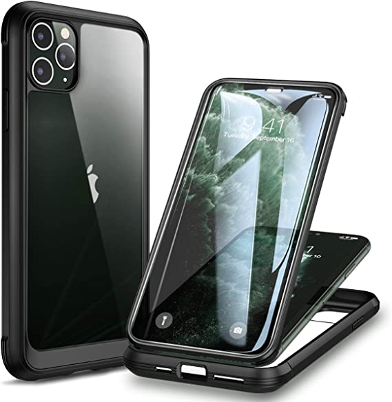 2019 Release Black Rugged Clear Bumper Case with Built-in Screen Protector i-Blason Ares Series for iPhone 11 Pro 5.8 Inch